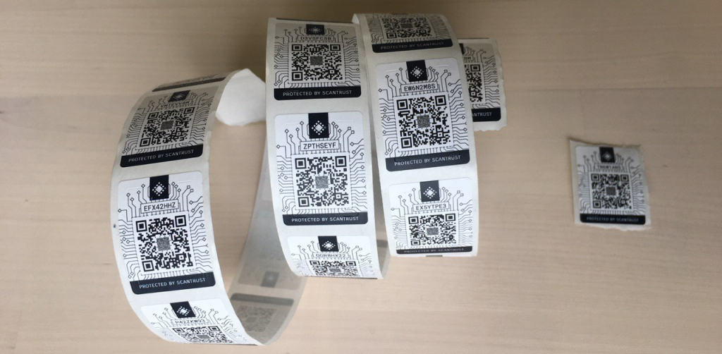 ScanTrust QR codes which are attached to physical items.